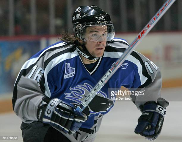 Jonathan Laberge of the Saint John Sea Dogs in action against the Halifax Mooseheads at the Halifax Metro Centre on September 23 2005 in Halifax Nova...