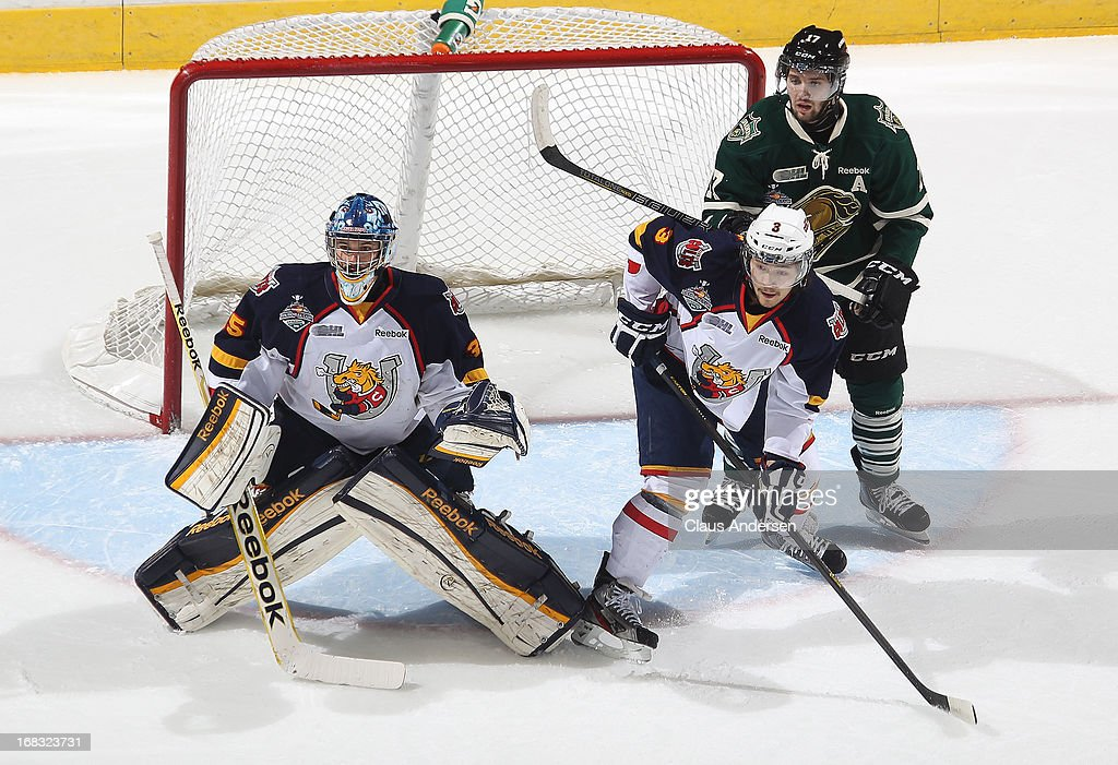 Jonathan Laser #3 of the Barrie Colts defends against Seth Griffith #17 of the London Knights in Game One of the OHL Championship Final on May 3, 2013 at the Budweiser Gardens in London, Ontario, Canada. The Colts defeated the Knights 4-2 to take a 1-0 series lead.