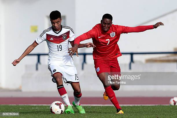 Jonathan Leko of England challenges Timothy Tillman of Germany during the UEFA Under17 match between U17 England v U17 Germany on February 7 2016 in...