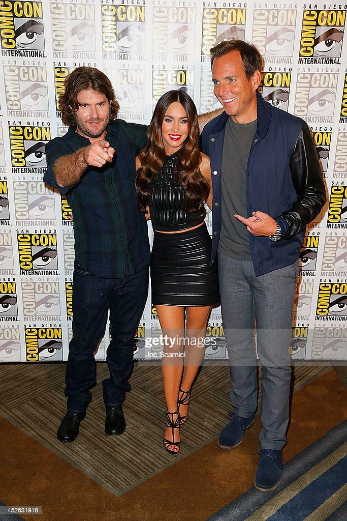 Jonathan Liebesman, Megan Fox and Will Arnett attend the 'Teenage Mutant Ninja Turtles' press line at Comic-Con International 2014 - Day 1 on July 24, 2014 in San Diego, California.