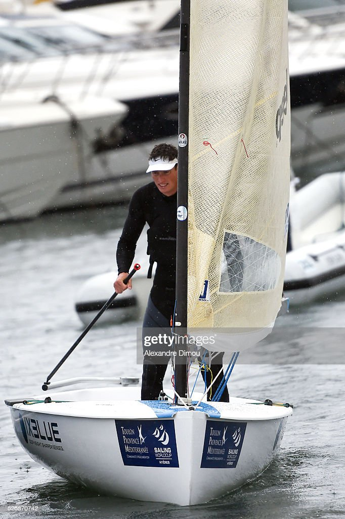 Jonathan Lobert of France compete in the Laser race boat during the Sailing World Cup on May 1, 2016 in Hyeres, France.