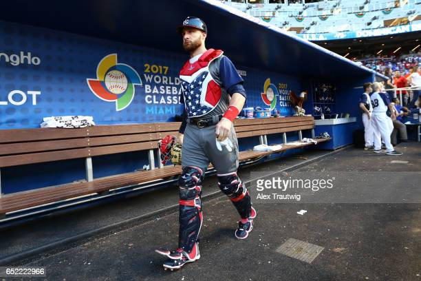 Jonathan Lucroy of Team USA gets ready in the dugout prior to Game 4 Pool C of the 2017 World Baseball Classic against Team Dominican Republic on...
