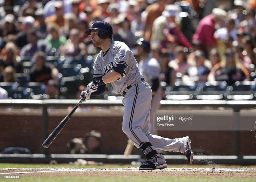 <a gi-track='captionPersonalityLinkClicked' href=/galleries/search?phrase=Jonathan+Lucroy&family=editorial&specificpeople=5732413 ng-click='$event.stopPropagation()'>Jonathan Lucroy</a> #20 of the Milwaukee Brewers bats against the San Francisco Giants at AT&T Park on August 31, 2014 in San Francisco, California.