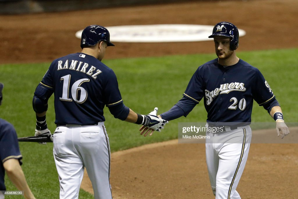<a gi-track='captionPersonalityLinkClicked' href=/galleries/search?phrase=Jonathan+Lucroy&family=editorial&specificpeople=5732413 ng-click='$event.stopPropagation()'>Jonathan Lucroy</a> #20 of the Milwaukee Brewers celebrates with <a gi-track='captionPersonalityLinkClicked' href=/galleries/search?phrase=Aramis+Ramirez&family=editorial&specificpeople=239509 ng-click='$event.stopPropagation()'>Aramis Ramirez</a> #16 after reaching on a RBI double hit by Ryan Braun in the bottom of the third inning against the Toronto Blue Jays against the Milwaukee Brewers during the Interleague game at Miller Park on August 19, 2014 in Milwaukee, Wisconsin.