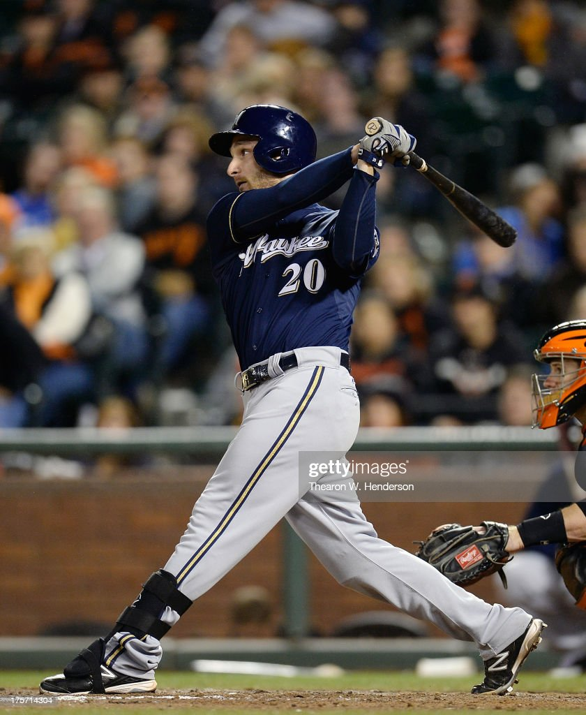 <a gi-track='captionPersonalityLinkClicked' href=/galleries/search?phrase=Jonathan+Lucroy&family=editorial&specificpeople=5732413 ng-click='$event.stopPropagation()'>Jonathan Lucroy</a> #20 of the Milwaukee Brewers hits a sacrifice fly scoring Norichika Aoki #7 in the ninth inning against the San Francisco Giants at AT&T Park on August 6, 2013 in San Francisco, California. The Brewers won the game 3-1.