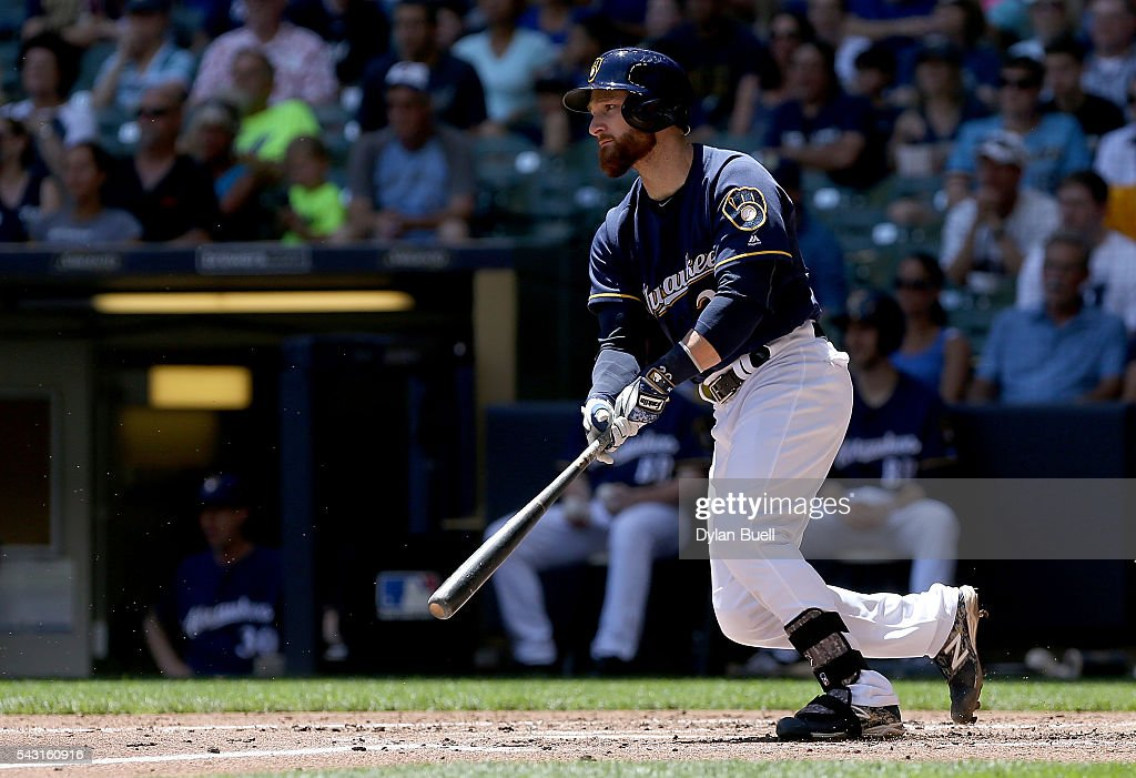 Jonathan Lucroy #20 of the Milwaukee Brewers hits a single in the second inning against the Washington Nationals at Miller Park on June 26, 2016 in Milwaukee, Wisconsin.