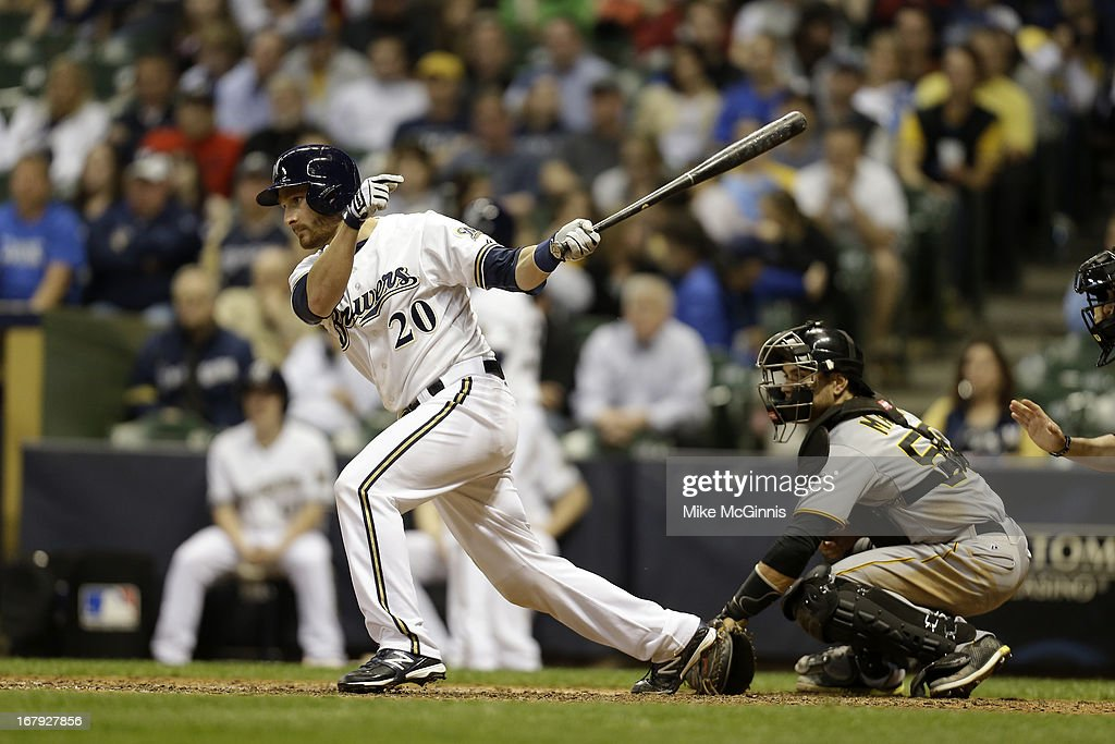 <a gi-track='captionPersonalityLinkClicked' href=/galleries/search?phrase=Jonathan+Lucroy&family=editorial&specificpeople=5732413 ng-click='$event.stopPropagation()'>Jonathan Lucroy</a> #20 of the Milwaukee Brewers makes some contact at the plate against the Pittsburgh Pirates during the game at Miller Park on April 29, 2013 in Milwaukee, Wisconsin.