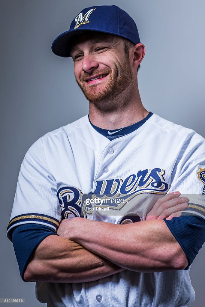 Jonathan Lucroy #20 of the Milwaukee Brewers poses during photo day at the Maryvale sports complex on February 26, 2016 in Maryvale, Arizona.