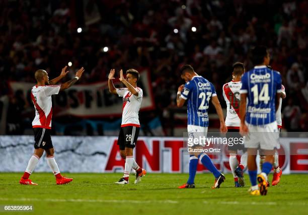 Jonathan Maidana and Martinez Quarta of River Plate celebrate their win at the end of the match between Godoy Cruz and River Plate as part of the...