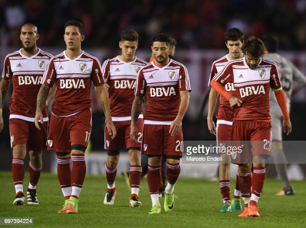 Jonathan Maidana Leonardo Ponzio Sebastian Driussi Milton Casco and Ignacio Fernandez River Plate leave the field at the end of the first half during...