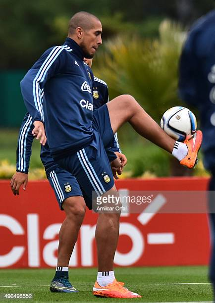 Jonathan Maidana of Argentina controls the ball during a training session at Argentine Football Association 'Julio Humberto Grondona' training camp...
