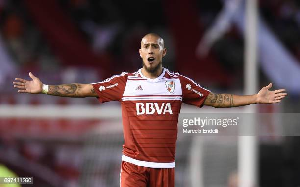 Jonathan Maidana of River Plate gestures during a match between River Plate and Racing Club as part of Torneo Primera Division 2016/17 at Monumental...