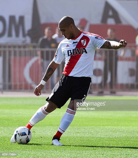 Jonathan Maidana of River Plate kicks the ball during a match between River Plate and Boca Juniors as part of Torneo Primera Division 2016/17 at...