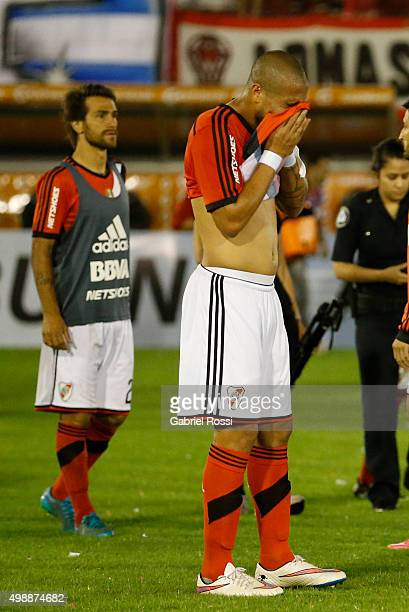Jonathan Maidana of River Plate looks rejected after a second leg match between Huracan and River Plate as part of Semi Finals of Copa Sudamericana...
