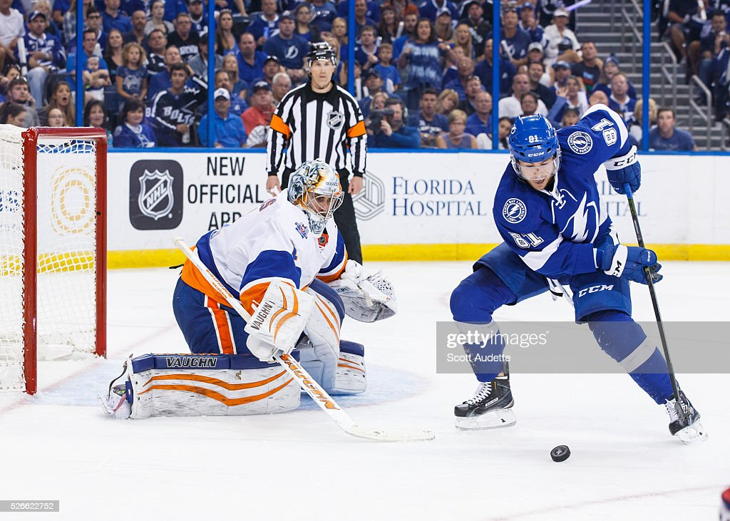 Jonathan Marchessault #81 of the Tampa Bay Lightning shoots the puck against goalie <a gi-track='captionPersonalityLinkClicked' href=/galleries/search?phrase=Thomas+Greiss&family=editorial&specificpeople=695275 ng-click='$event.stopPropagation()'>Thomas Greiss</a> #1 of the New York Islanders during the third period of Game Two of the Eastern Conference Second Round in the 2016 NHL Stanley Cup Playoffs at the Amalie Arena on April 30, 2016 in Tampa, Florida.