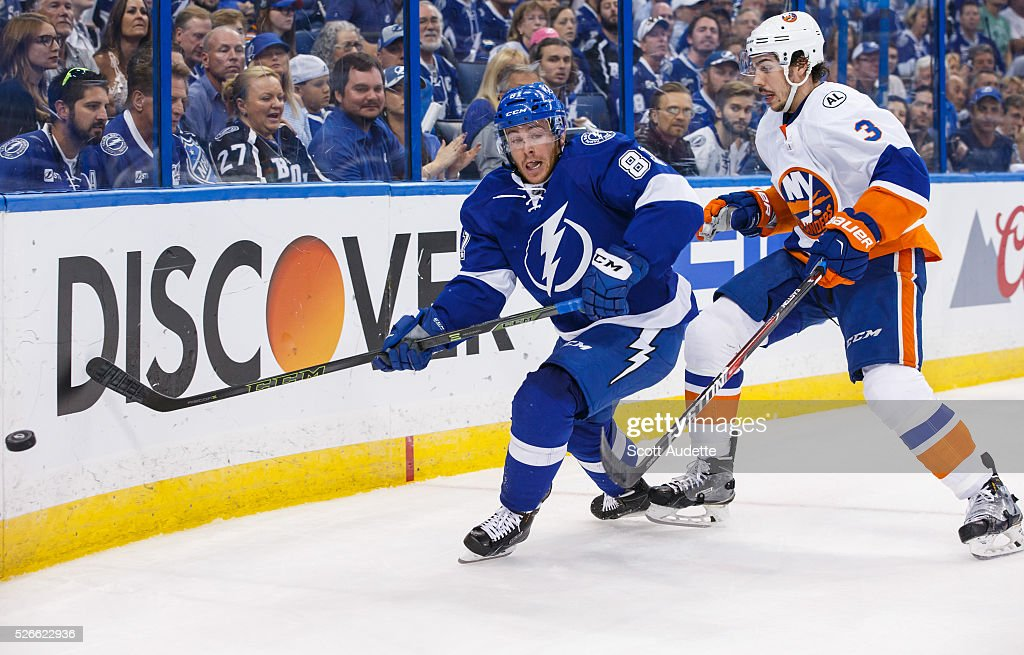 Jonathan Marchessault #81 of the Tampa Bay Lightning skates against Travis Hamonic #3 of the New York Islanders during the third period of Game Two of the Eastern Conference Second Round in the 2016 NHL Stanley Cup Playoffs at the Amalie Arena on April 30, 2016 in Tampa, Florida.