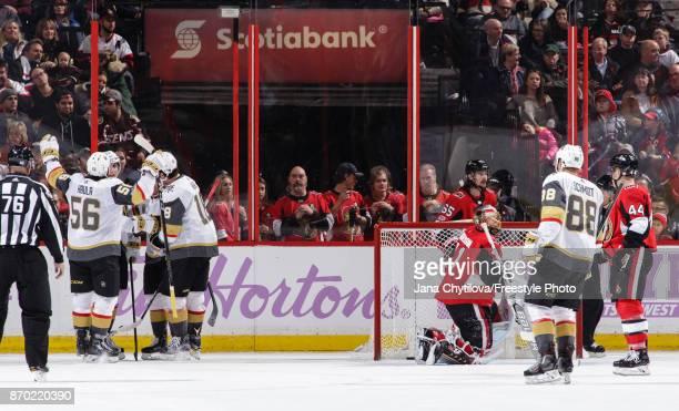 Jonathan Marchessault of the Vegas Golden Knights celebrates his second period powerplay goal against the Ottawa Senators with teammates Erik Haula...