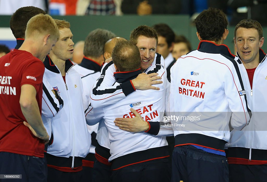 Jonathan Marray and Matt Little of Great Britain celebrate their win over Russia during day three of the Davis Cup match between Great Britain and Russia at the Ricoh Arena on April 7, 2013 in Coventry, England.