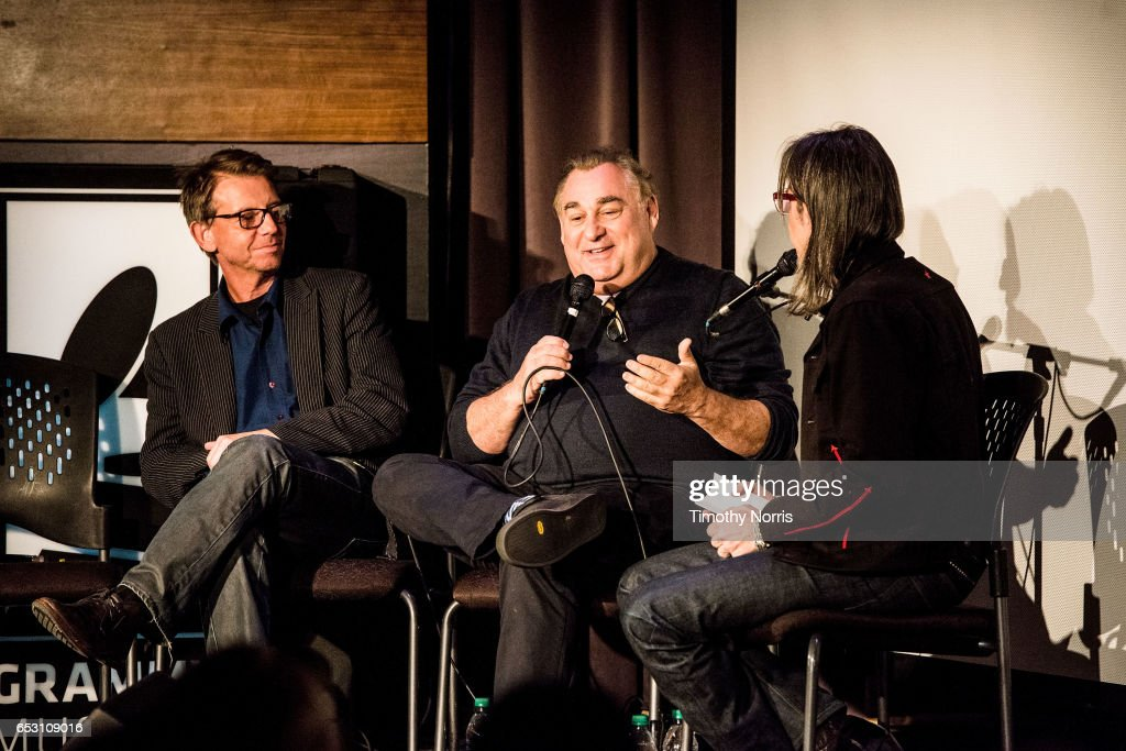 Jonathan McHugh, Leslie Greif and Scott Goldman speak during The Music Behind 'Sun Records' at The GRAMMY Museum on March 13, 2017 in Los Angeles, California.