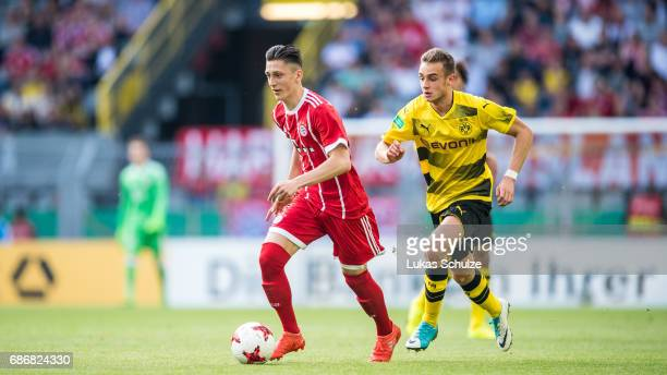 Jonathan Meier of Munich and David Kopacz of Dortmund fight for the ball during the U19 German Championship Final between Borussia Dortmund and FC...