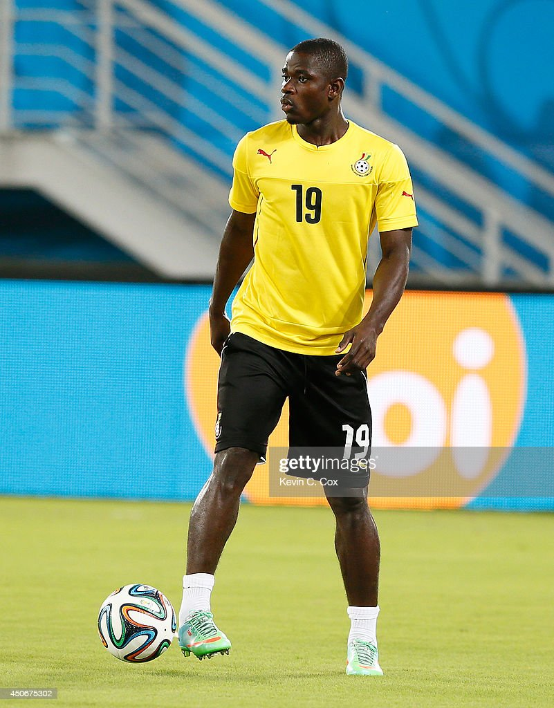 Jonathan Mensah of Ghana works out during training at Estadio das Dunas on June 15, 2014 in Natal, Brazil.