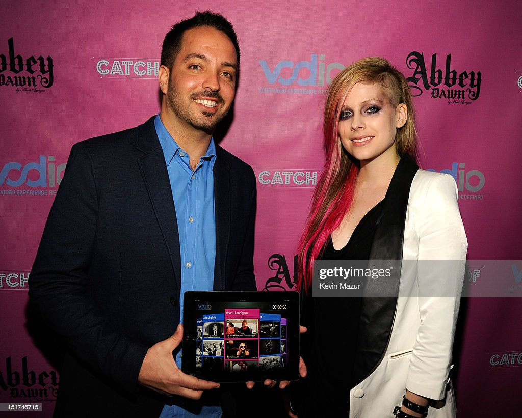 Jonathan Messika and Avril Lavigne attend the Abbey Dawn by Avril Lavigne after party presented by Vodio at Catch Roof on September 10, 2012 in New York City.