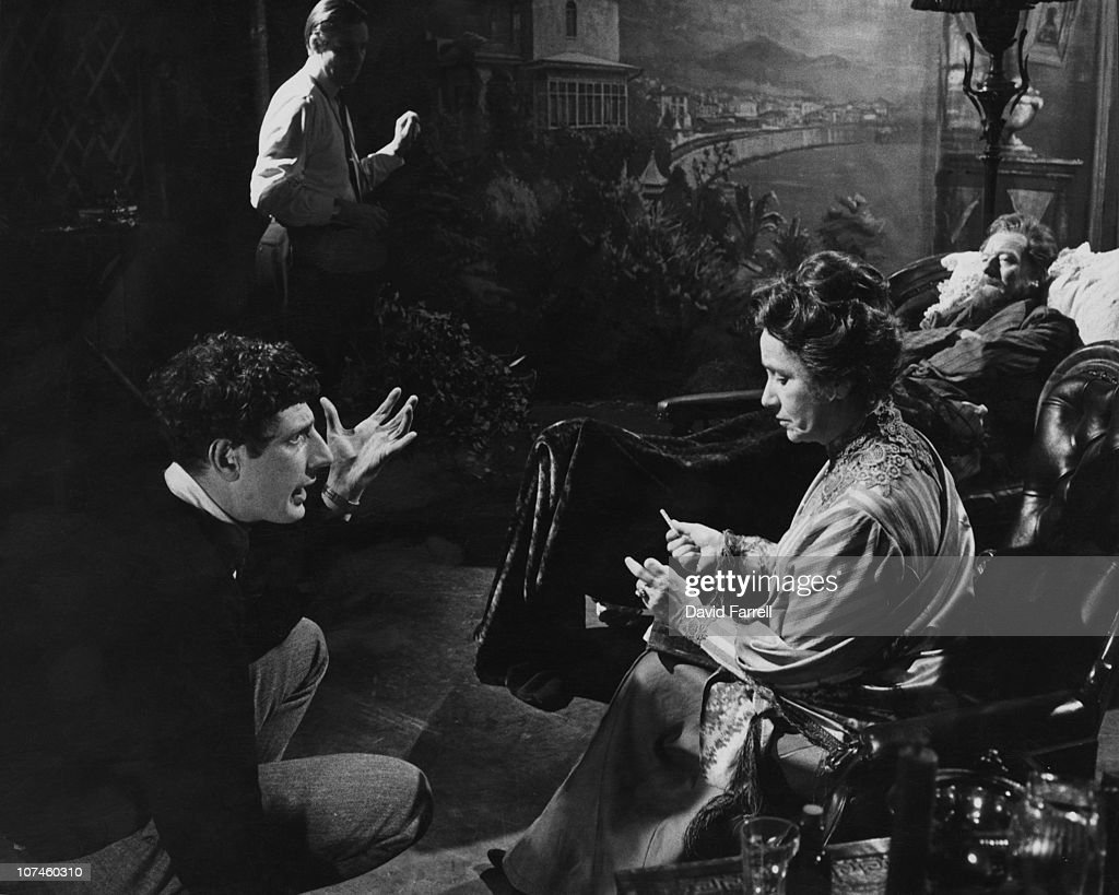 Jonathan Miller directs actress Dame Peggy Ashcroft in the television drama 'From Chekhov with Love' circa 1967 Actor John Gielgud is visible in...