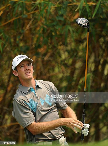 Jonathan Moore of USA plays a shot during practice ahead of the Chiangmai Golf Classic at Alpine Golf ResortChiangmai on March 26 2013 in Chiang Mai...