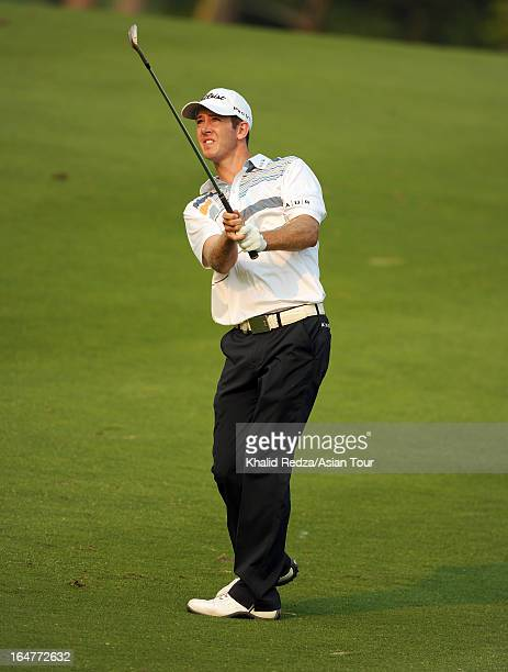 Jonathan Moore of USA plays a shot during round one of the Chiangmai Golf Classic at Alpine Golf ResortChiangmai on March 28 2013 in Chiang Mai...