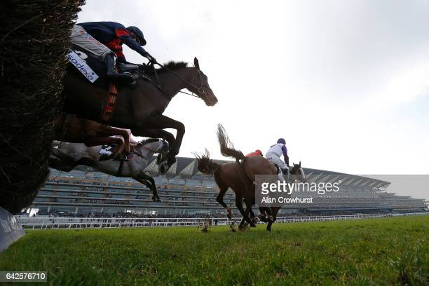 Jonathan Moore riding Bigbadjohn on their way to winning The Sodexo Reynoldstown Novicesâ Steeple Chase at Ascot Racecourse on February 18 2017 in...