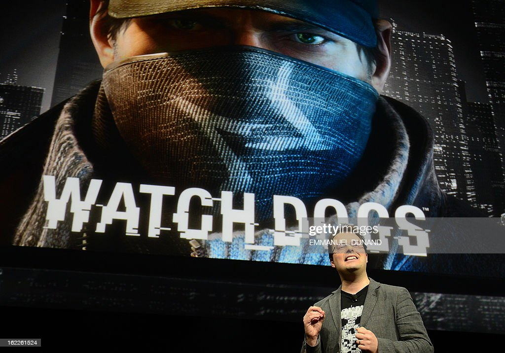 Jonathan Morin, the creative director at Ubisoft presents Ubisoft's latest game development 'Watch Dog', as Sony introduces the PlayStation 4 at a news conference February 20, 2013 in New York. AFP PHOTO/EMMANUEL DUNAND