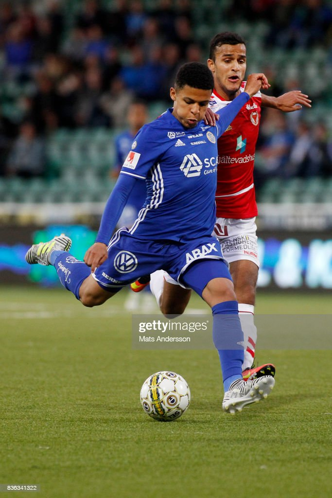 Jonathan Morsay of GIF Sundsvall and Harmet Singh of Kalmar FF during the Allsvenskan match between GIF Sundsvall and Kalmar FF at Idrottsparken on August 21, 2017 in Sundsvall, Sweden.