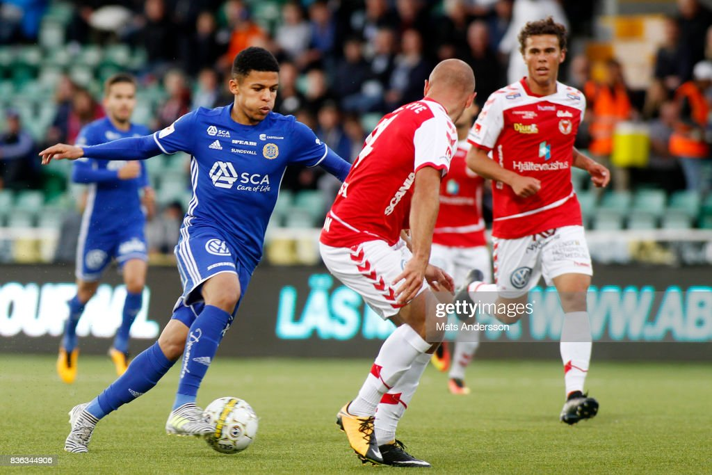 Jonathan Morsay of GIF Sundsvall during the Allsvenskan match between GIF Sundsvall and Kalmar FF at Idrottsparken on August 21, 2017 in Sundsvall, Sweden.