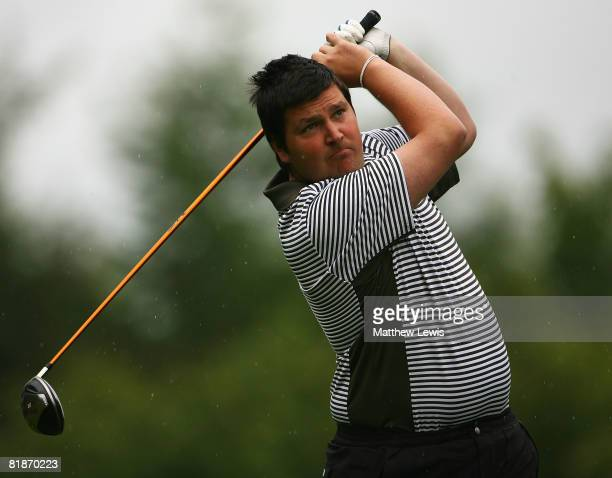 Jonathan Moss tees off from the 1st tee during the Powerade PGA Assistant's Championship North Region Qualifier at Knaresborough Golf Club on July 7...