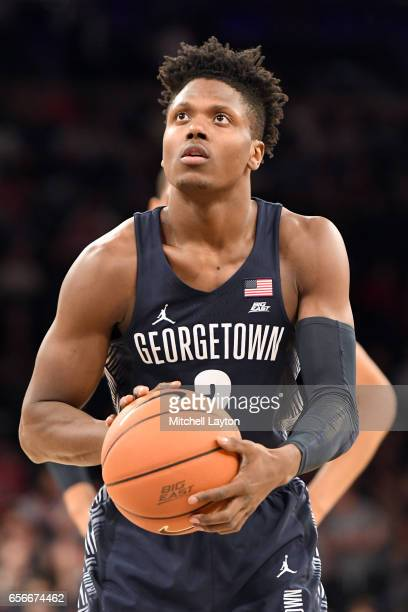 Jonathan Mulmore of the Georgetown Hoyas takes a foul shot during the Big East Basketball Tournament First Round game against the St John's Red Storm...
