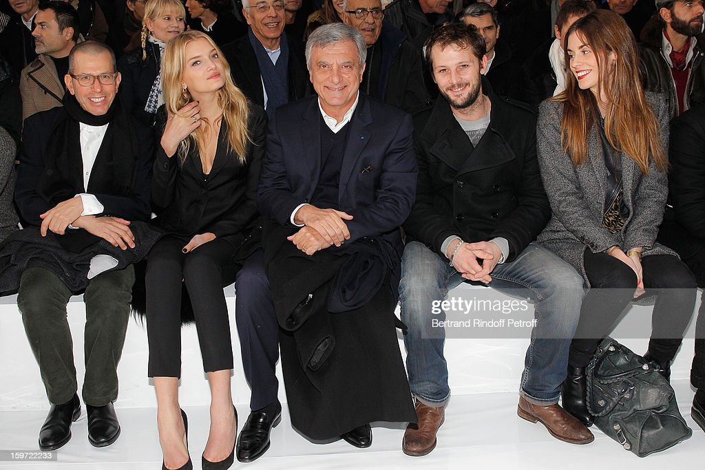 Jonathan Newhouse, chairman of Conde Nast International, <a gi-track='captionPersonalityLinkClicked' href=/galleries/search?phrase=Lily+Donaldson&family=editorial&specificpeople=469694 ng-click='$event.stopPropagation()'>Lily Donaldson</a>, <a gi-track='captionPersonalityLinkClicked' href=/galleries/search?phrase=Sidney+Toledano&family=editorial&specificpeople=758670 ng-click='$event.stopPropagation()'>Sidney Toledano</a>, <a gi-track='captionPersonalityLinkClicked' href=/galleries/search?phrase=Nicolas+Duvauchelle&family=editorial&specificpeople=3029663 ng-click='$event.stopPropagation()'>Nicolas Duvauchelle</a> and his companion Laura Isaaz attend the Dior Homme Men Autumn / Winter 2013 show as part of Paris Fashion Week, at Quartier des Celestins, on January 19, 2013 in Paris, France.