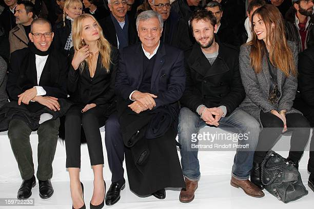 Jonathan Newhouse chairman of Conde Nast International Lily Donaldson Sidney Toledano Nicolas Duvauchelle and his companion Laura Isaaz attend the...