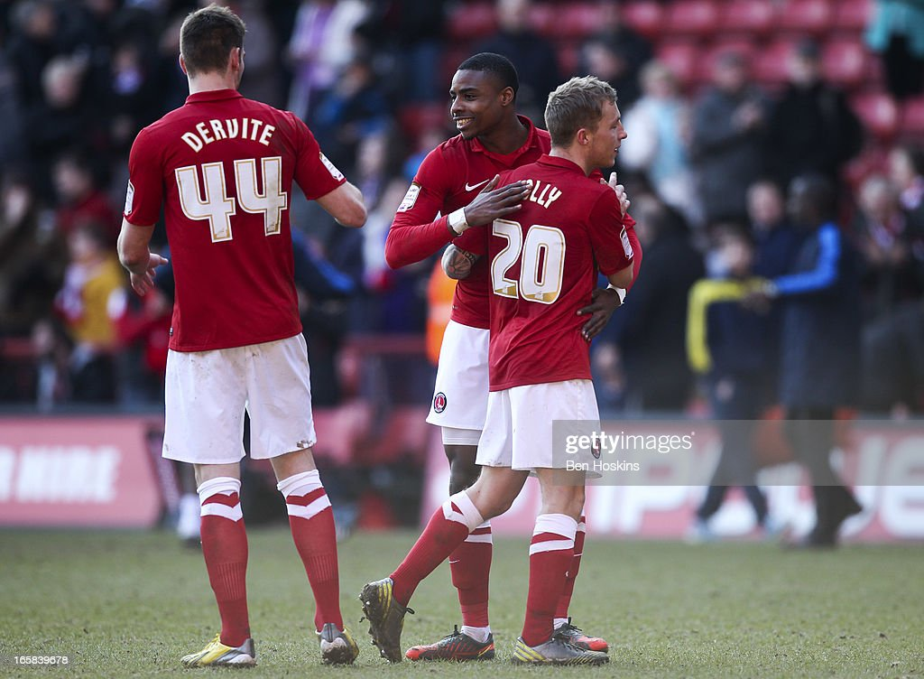 Jonathan Obika of Charlton (C) celebrates with team mates after the final whistle during the npower Championship match between Charlton Athletic and Leeds United at the Valley on April 06, 2013 in London, England.