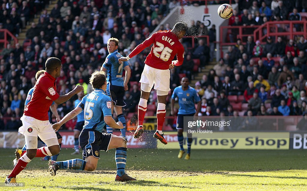 Jonathan Obika of Charlton scores the winning goal during the npower Championship match between Charlton Athletic and Leeds United at the Valley on April 06, 2013 in London, England.