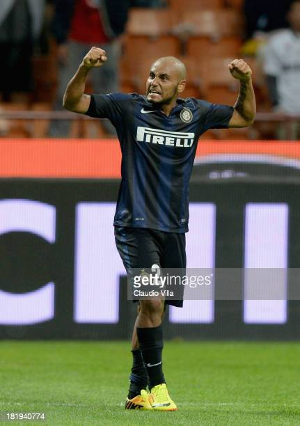 Jonathan of FC Inter celebrates scoring the second goal during the Serie A match between FC Internazionale Milano and ACF Fiorentina at Giuseppe...