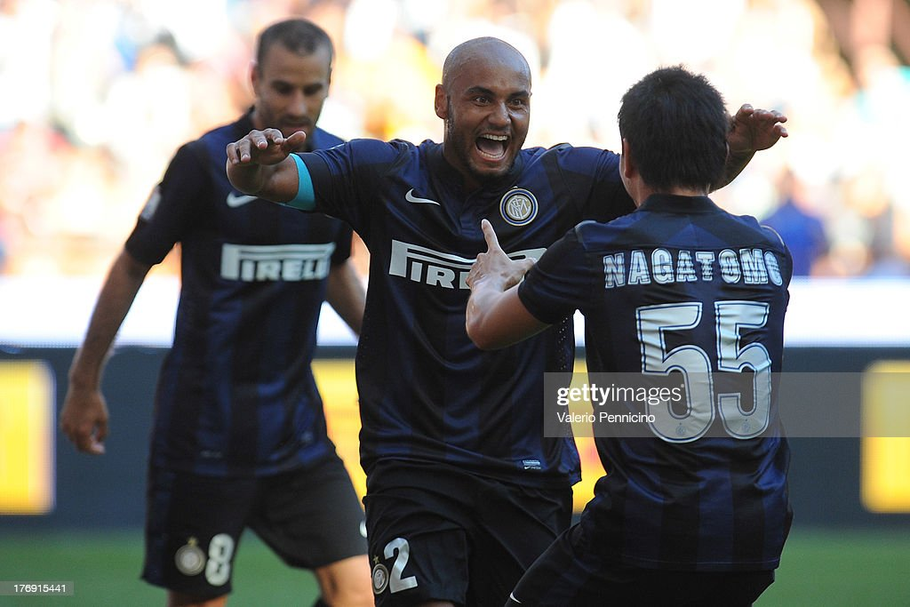 Jonathan (C) of FC Internazionale Milano celebrates his goal with team mates Yuto Nagatomo during the TIM cup match between FC Internazionale Milano and AS Cittadella at Stadio Giuseppe Meazza on August 18, 2013 in Milan, Italy.
