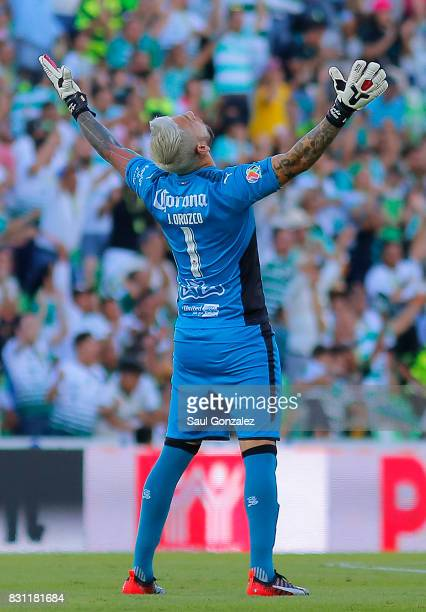 Jonathan Orozco of Santos celebrates during the 4th round match between Santos Laguna and Veracruz as part of the Torneo Apertura 2017 Liga MX on...