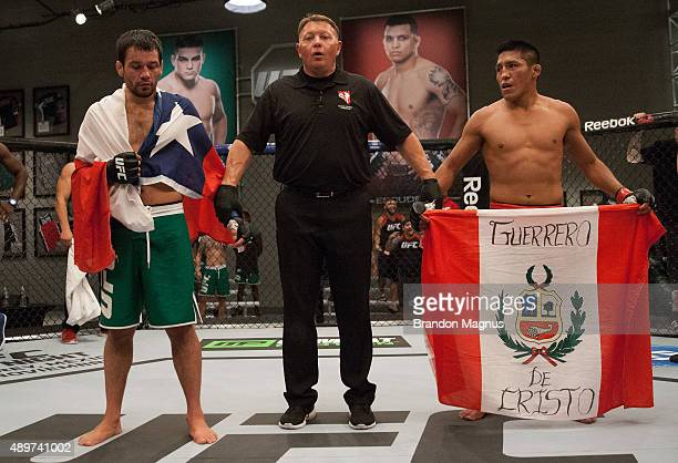 Jonathan Ortega and Enrique Barzola wait to hear the judges decision during the filming of The Ultimate Fighter Latin America Team Gastelum vs Team...