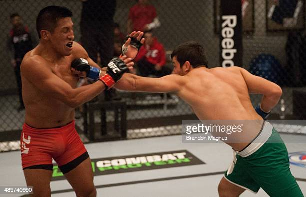 Jonathan Ortega punchesEnrique Barzola during the filming of The Ultimate Fighter Latin America Team Gastelum vs Team Escudero on April 7 2015 in Las...