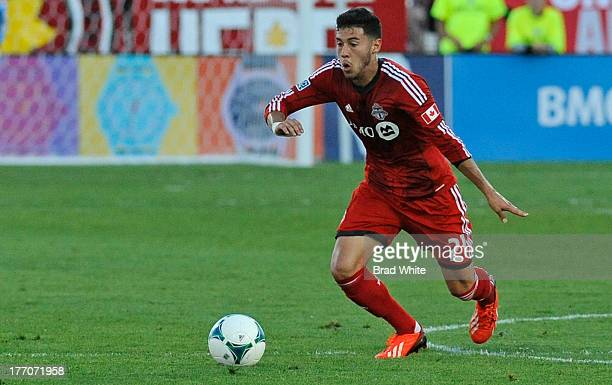 Jonathan Osorio of the Toronto FC runs with the ball during MLS game action against the Seattle Sounders FC August 10 2013 at BMO Field in Toronto...