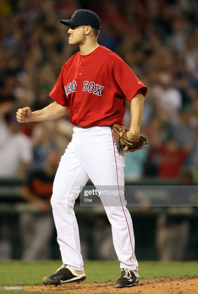 Jonathan Papelbon of the Boston Red Sox celebrates the win over the Baltimore Orioles on July 2 2010 at Fenway Park in Boston Massachusetts The Red...