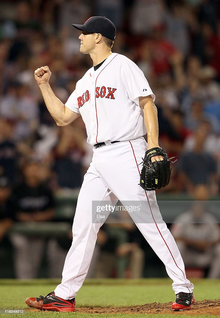 Jonathan Papelbon of the Boston Red Sox celebrates the win over the Toronto Blue Jays on July 6 2011 at Fenway Park in Boston Massachusetts The...