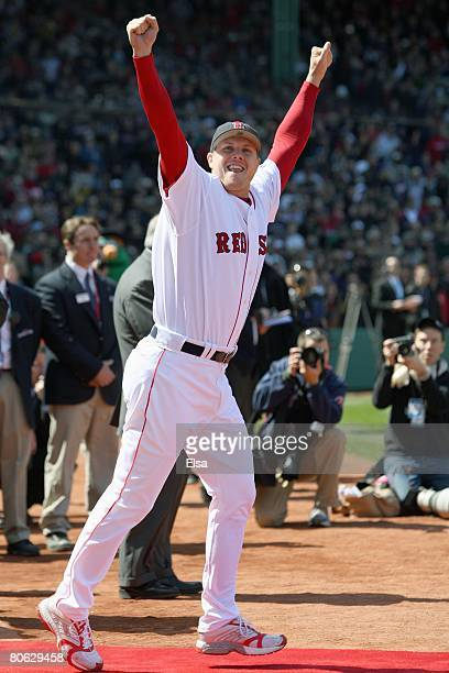 Jonathan Papelbon of the Boston Red Sox heads out on to the field to get his 2007 World Series Championship ring before the game the Detroit Tigers...