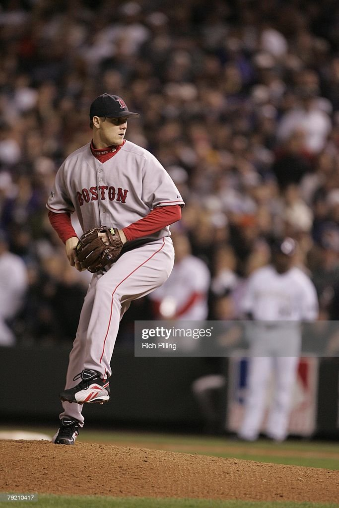 Jonathan Papelbon of the Boston Red Sox pitches during Game Four of the 2007 World Series against the Colorado Rockies on October 28, 2007 at Coors Field in Denver, Colorado. The Red Sox defeated the Rockies 4-3.