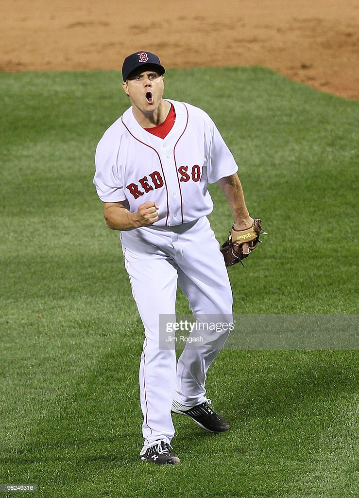 Jonathan Papelbon of the Boston Red Sox reacts in the ninth inning against the New York Yankees on Opening Night at Fenway Park on April 4 2010 in...